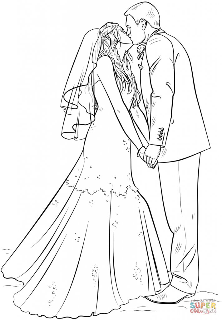 711x1024 Bride And Groom Coloring Page Download And Printable