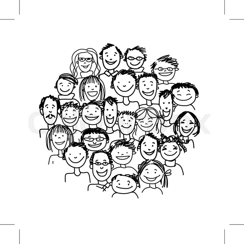 800x800 Group Of People, Sketch For Your Design. Vector Illustration