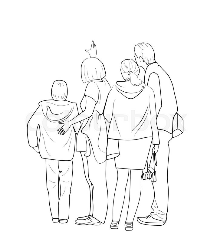 717x800 Sketch Of The Group Of People Looking Into The Same Direction