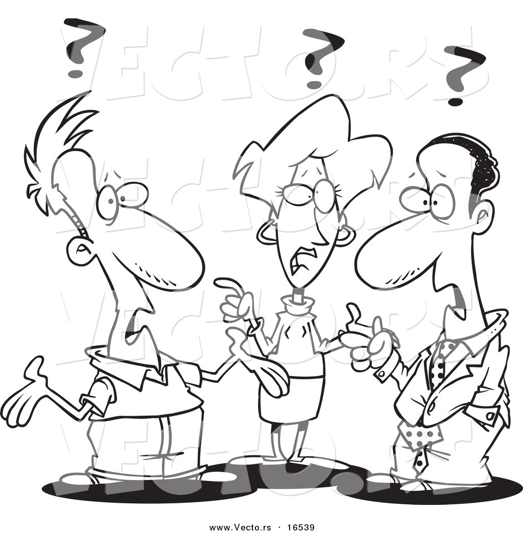 1024x1044 Vector Of A Cartoon Group Of Confused Business People