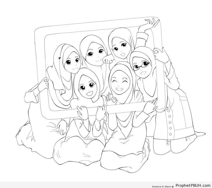 900x801 A Happy Group Of Manga Muslim Girls (Line Drawing) Drawings