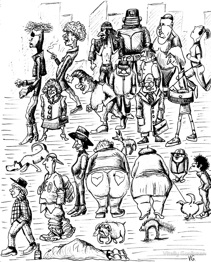 806x1000 New York City People 1992 Pen Ink Black And White Drawing By