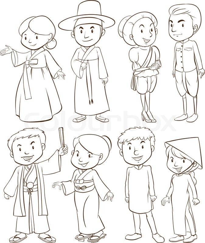 674x800 A Plain Drawing Of A Group Of Asian People On A White Background