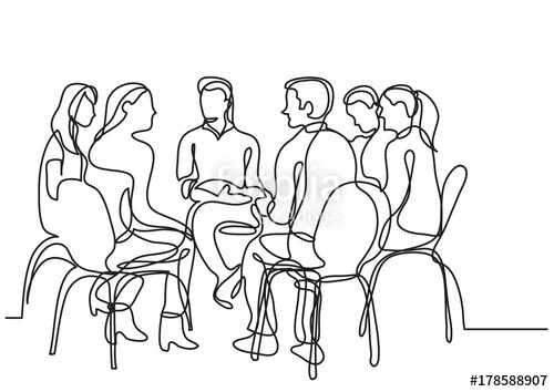 500x354 One Line Drawing Of Group Of Young People Talking Stock Image