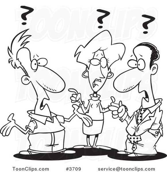 581x600 Cartoon Black And White Line Drawing Of A Group Of Confused