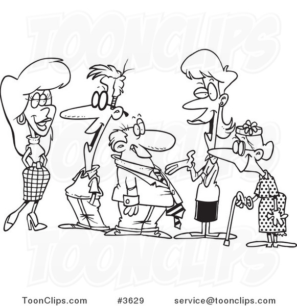 581x600 Cartoon Black And White Line Drawing Of A Group Of People