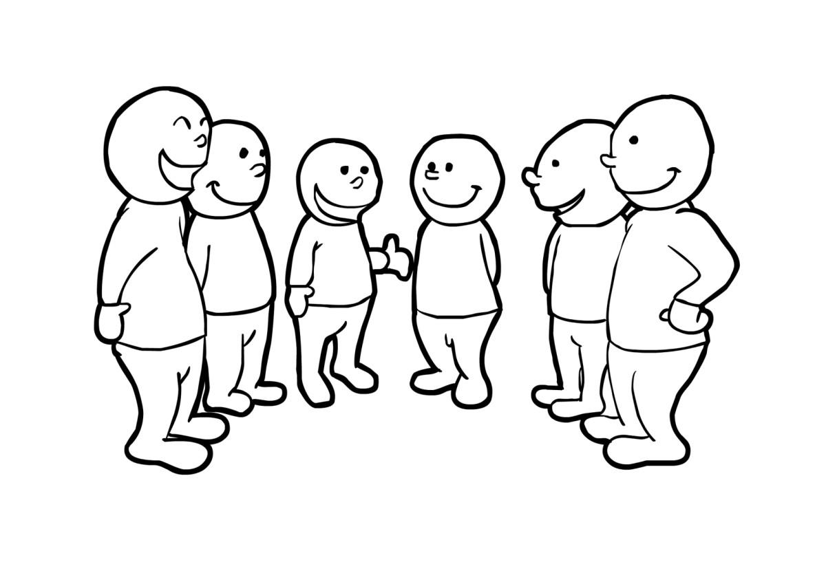 1200x833 Coloring Page Talking In Group