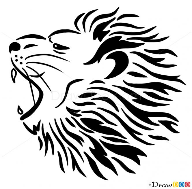 665x656 Growling Lion Drawing