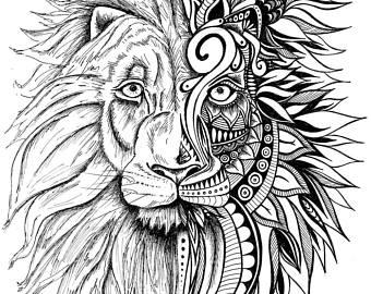 340x270 Lion Artwork Etsy