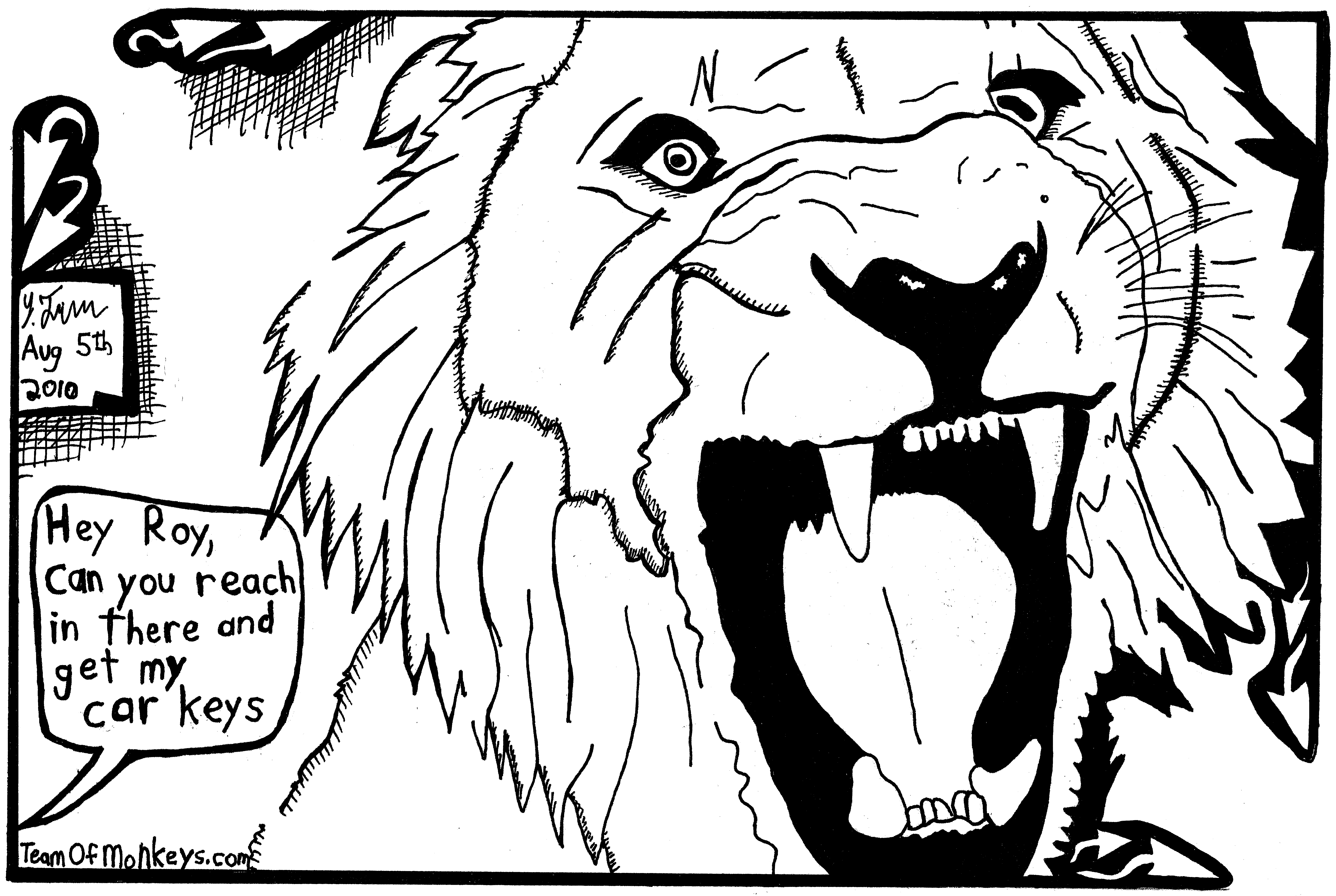 7330x4920 Maze Cartoon By Yonatan Frimer Of Lion Roaring With Siegfried