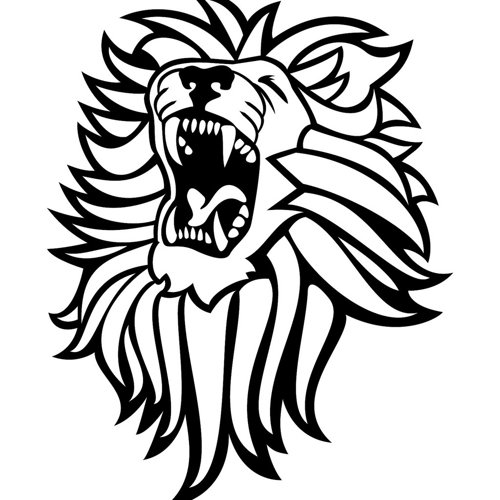1024x1024 Roaring Lion Clipart Black And White Letters Example