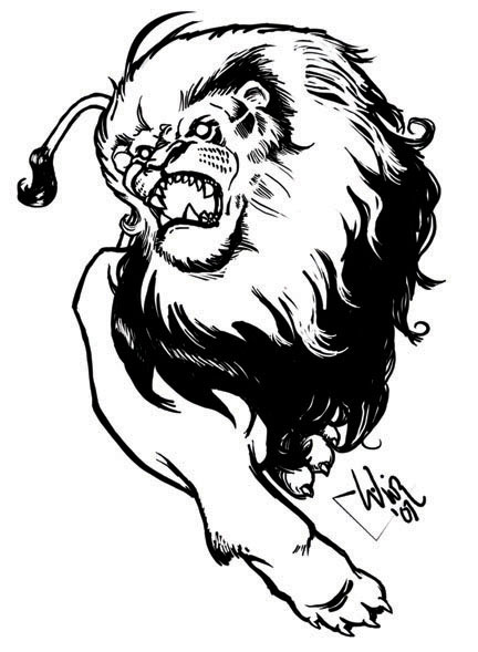 432x589 Roaring Lion Drawing Side View