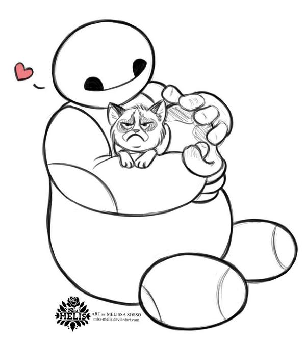 600x679 Baymax From Big Hero 6 And Grumpy Cat By Melissa Sosso