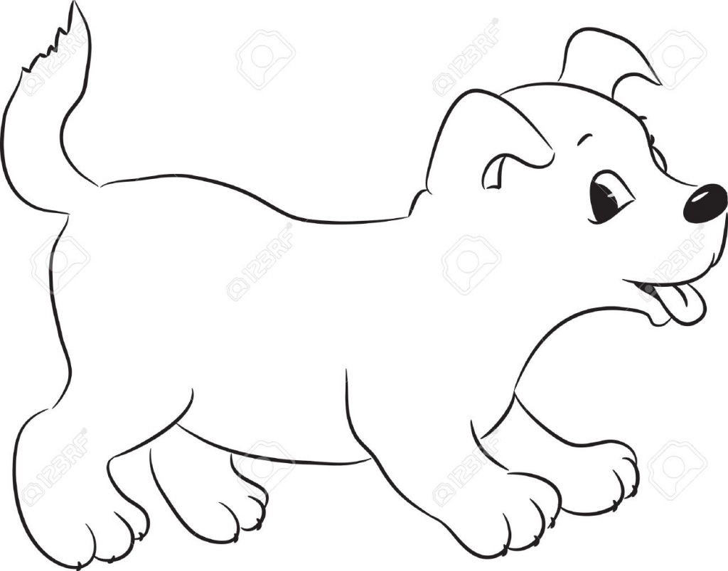 1024x804 Dog Cartoon Drawing Vector Of A Cartoon Guard Dog With A Dumbbell