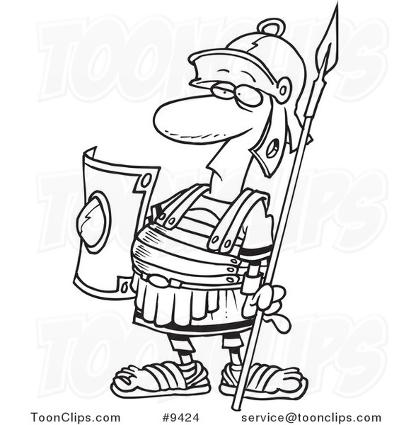 581x600 Cartoon Black And White Line Drawing Of A Centurion Guard