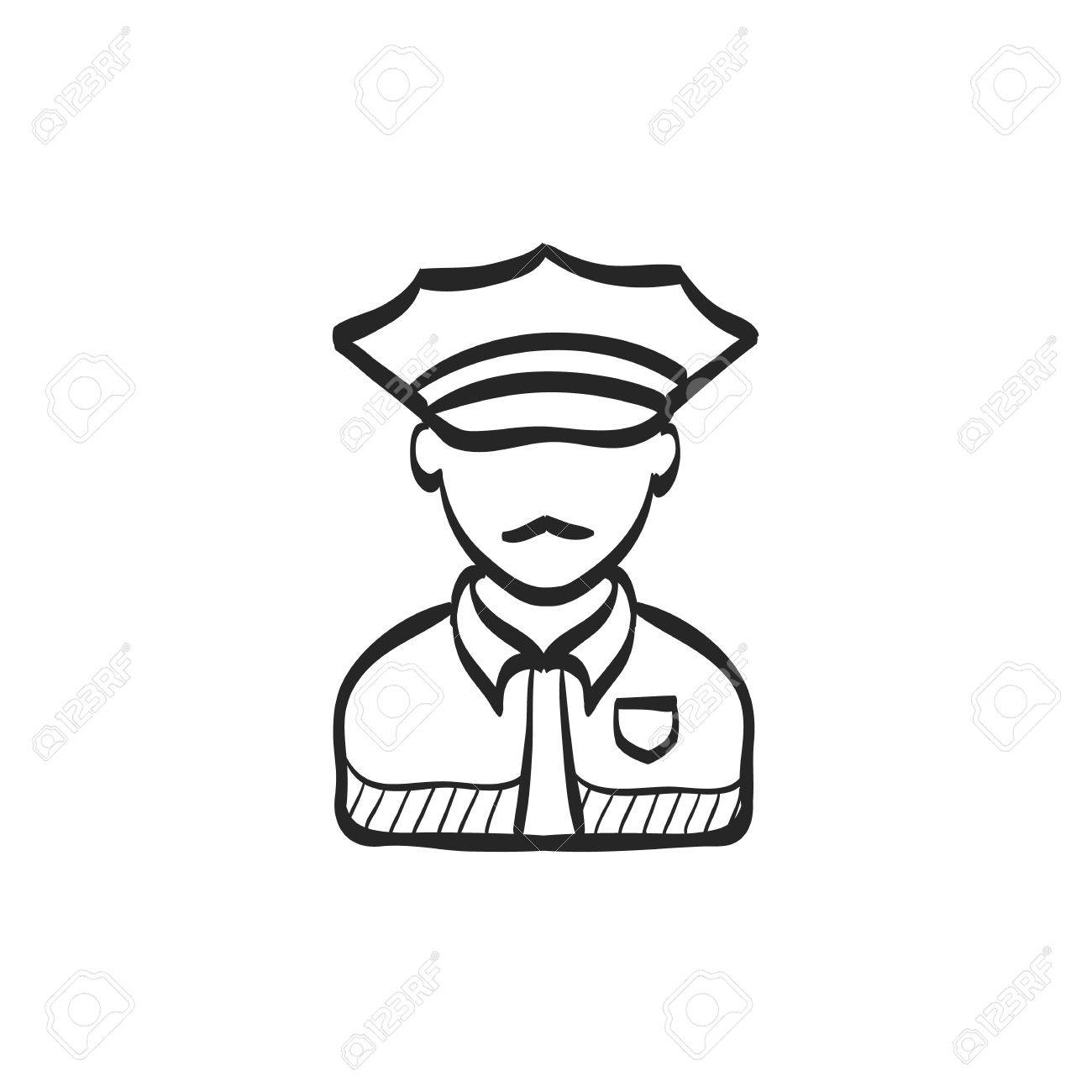 1300x1300 Police Avatar Icon In Doodle Sketch Lines. People Service Security