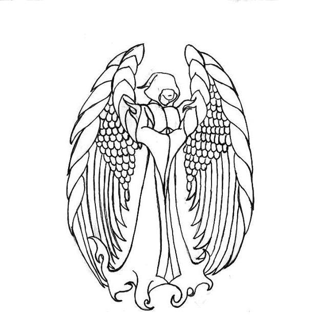 613x651 Guardian Angel Outline By Keithbaxter On Guardian Angel