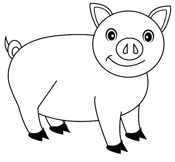 600x555 Pig Color Page Printable Pig Coloring Pages Smile Of The Pig