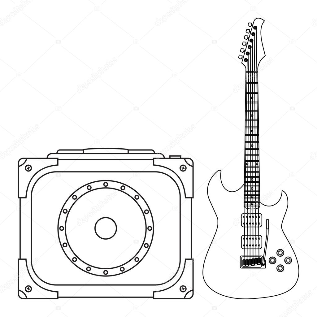 1024x1024 Electric Guitar And Amplifier Stock Vector Idollisimo