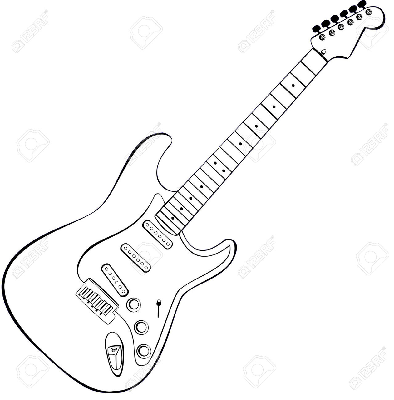 1279x1300 Drawing Of A Guitar Drawn Lines Guitar
