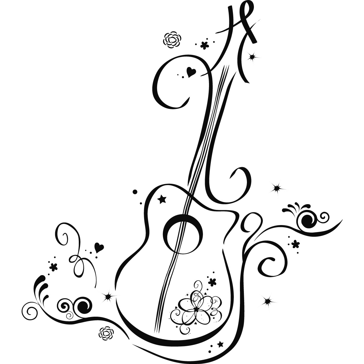 1200x1200 Floral Guitar Wall Art Decals Wall Stickers Transfers Guitar