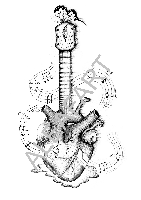 2121x3000 Guitar Heart Drawing Original Digital Download