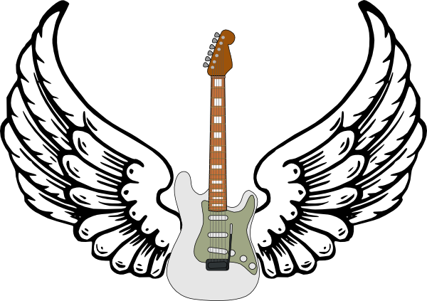 600x423 Guitar With Wings Clip Art