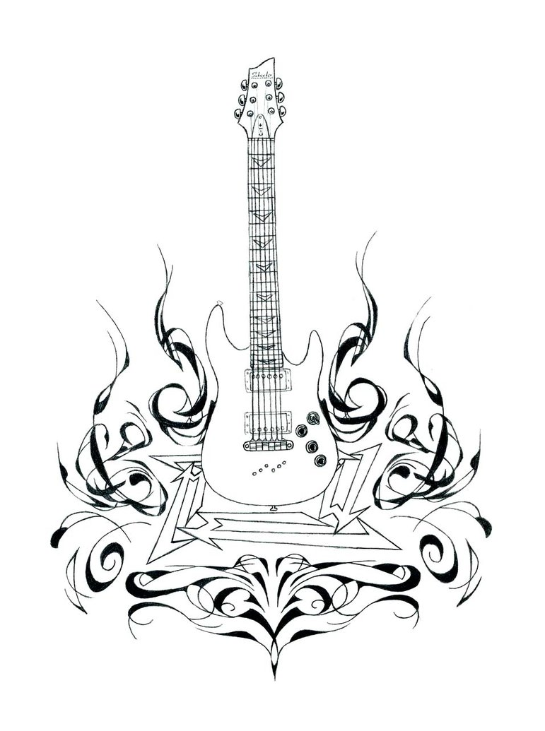 771x1035 Guitar And Flames Detail By Angrylandon