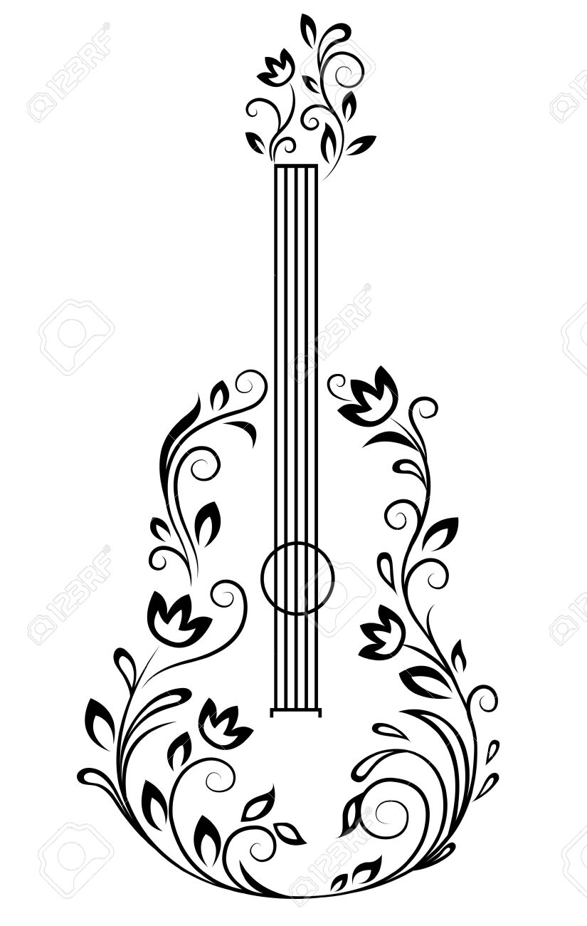 825x1300 Guitar With Floral Details For Entertainment Design Art