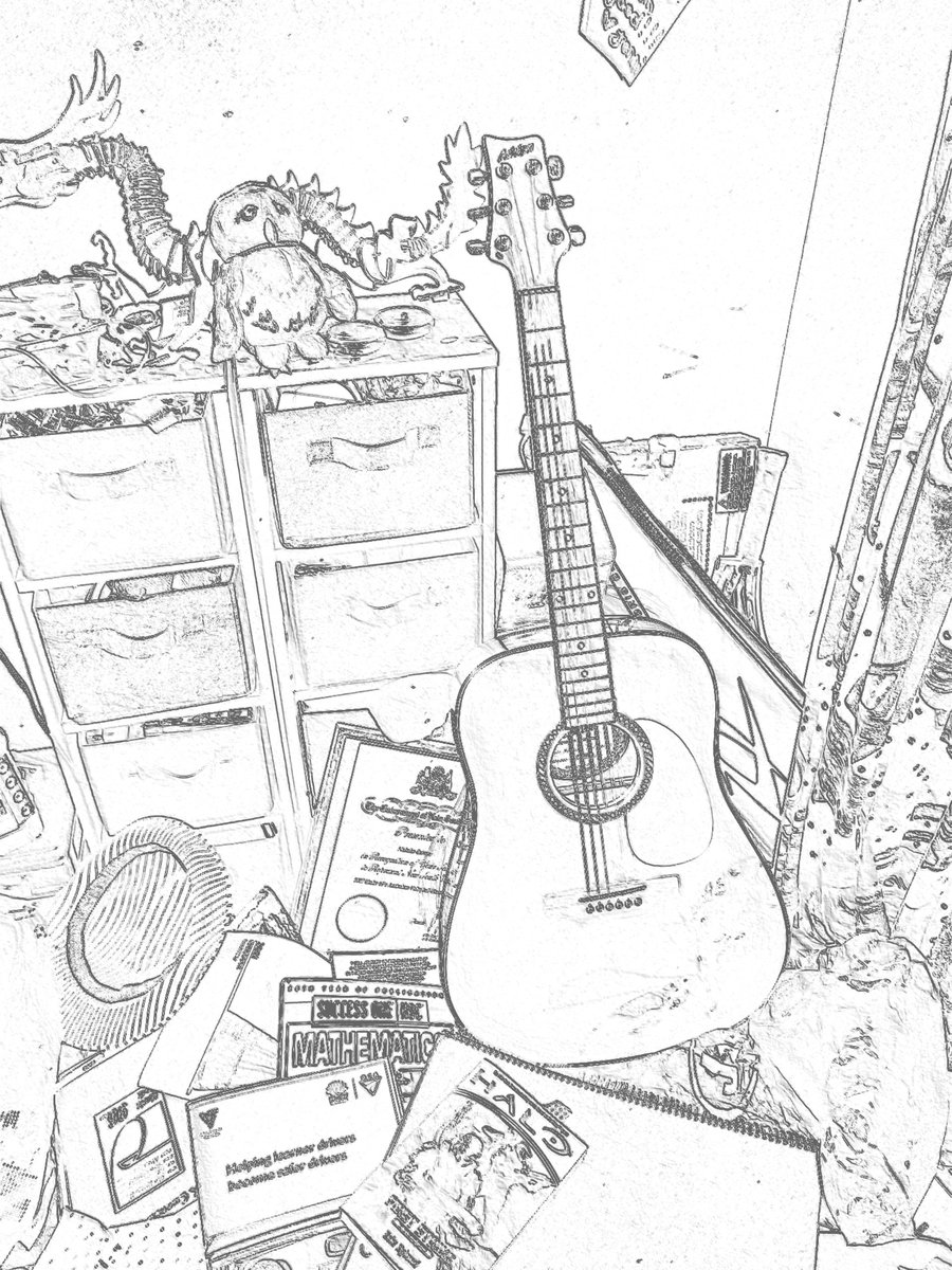 900x1200 My Guitar My Mess Drawing By Shadow Wolf04