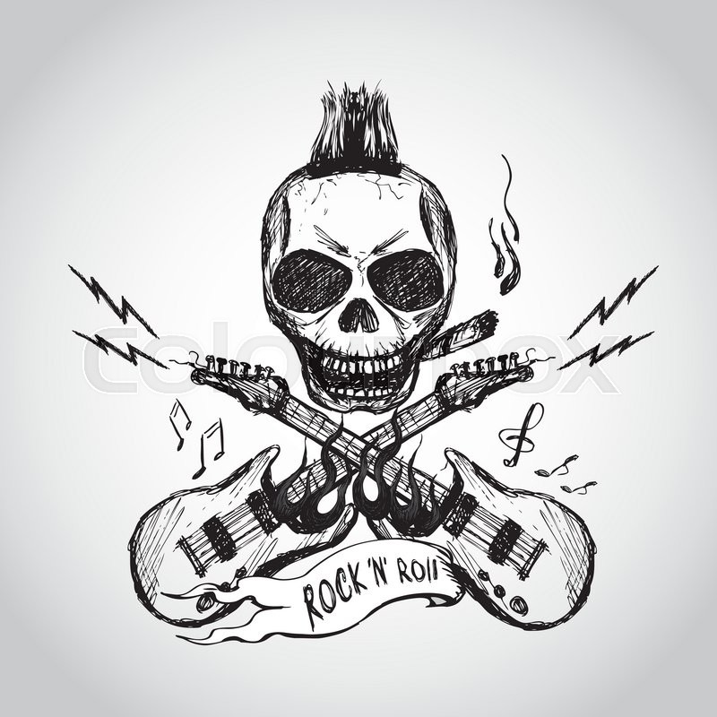 800x800 Rock And Roll Skull Guitar Hand Drawing. Vector. Stock Vector