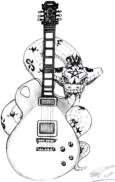 402x634 Snake And A Guitar Tattoo By Arielyust