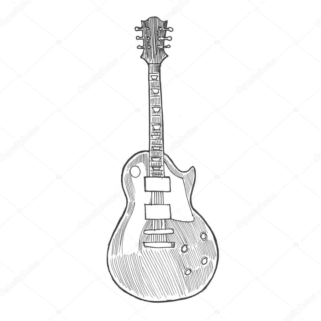 1024x1024 Pencil Painting Electric Rock Guitar Stock Photo Sentavio
