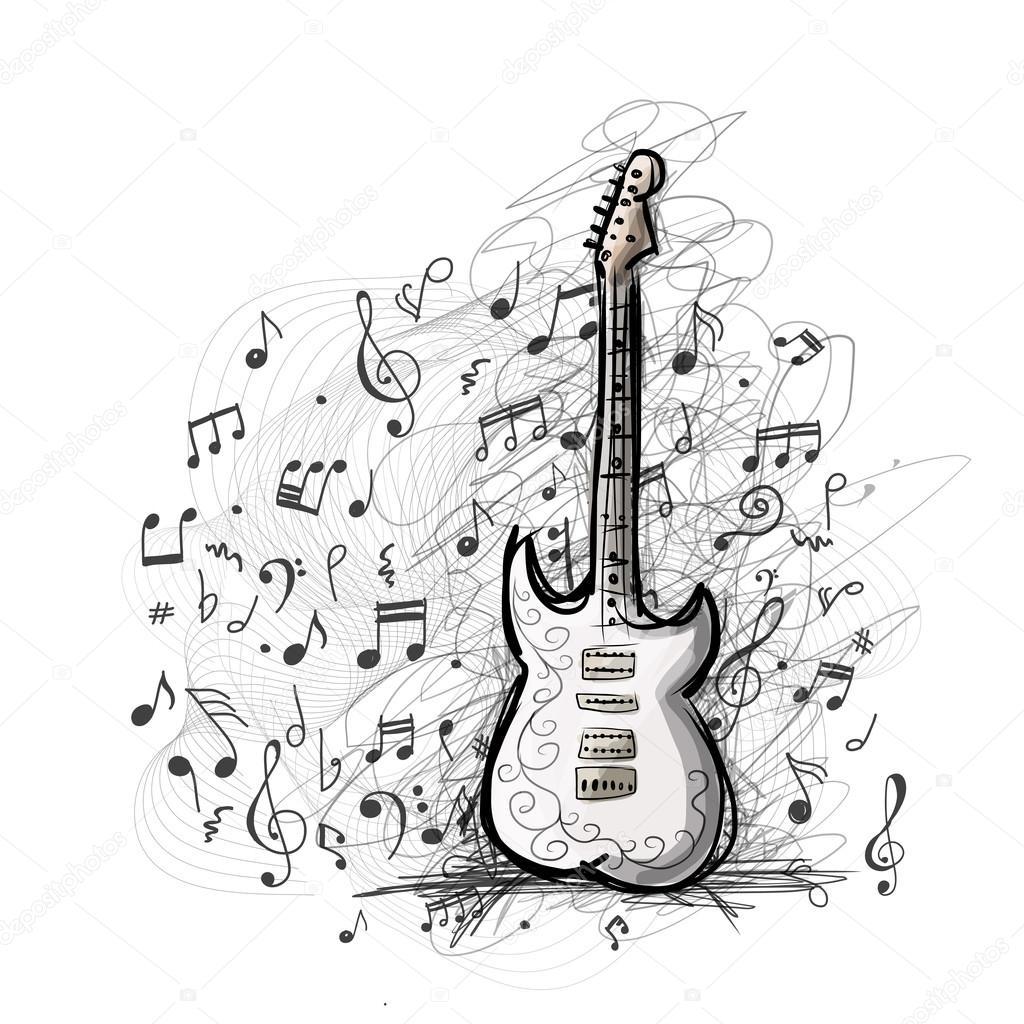 1024x1024 Art Sketch Of Guitar Design Stock Vector Kudryashka
