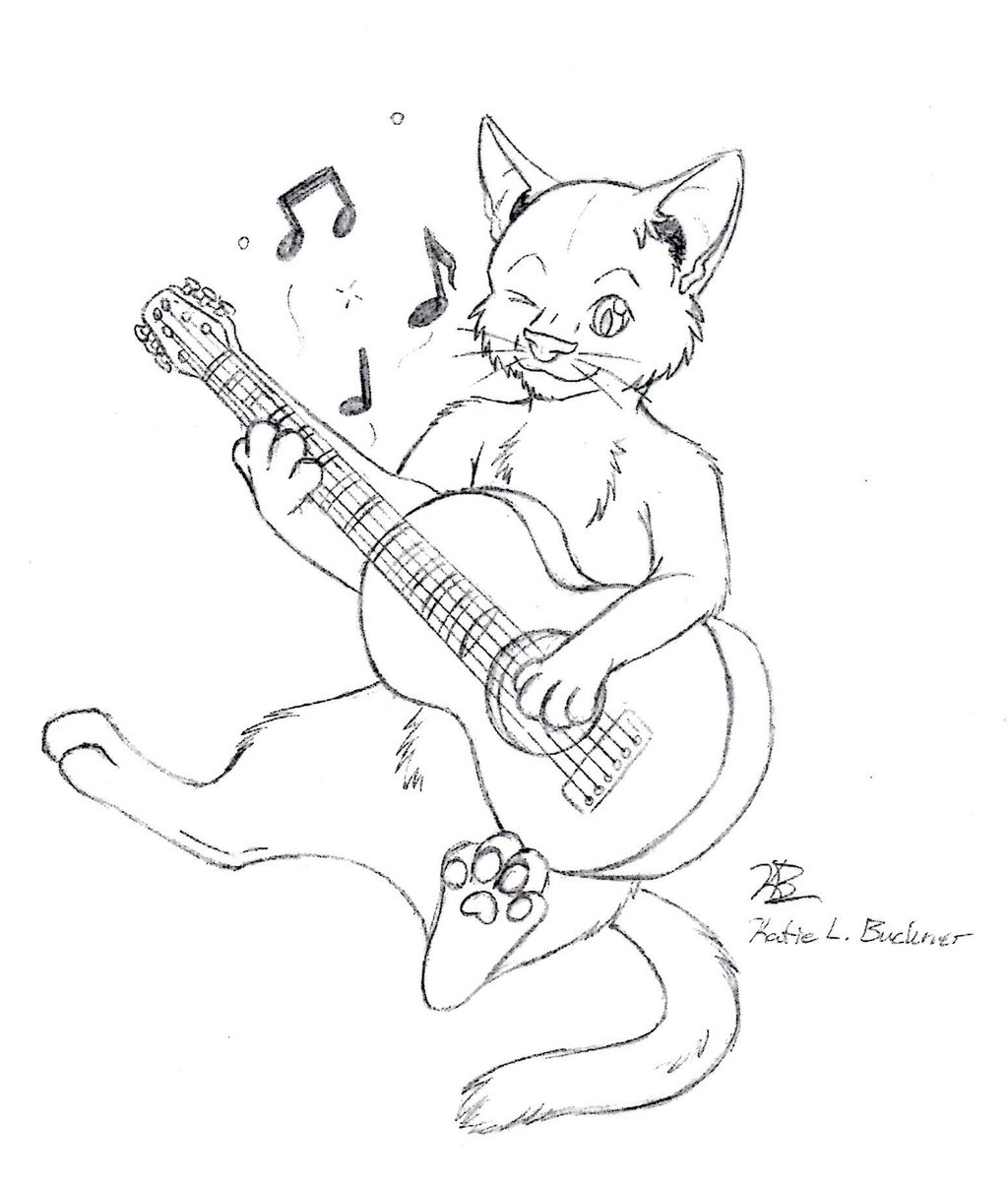 1024x1204 Cat Playing Guitar