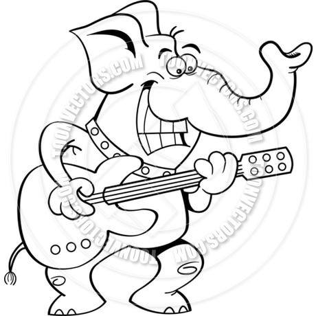 460x460 Cartoon Elephant Playing A Guitar (Black Amp White Line Art) By
