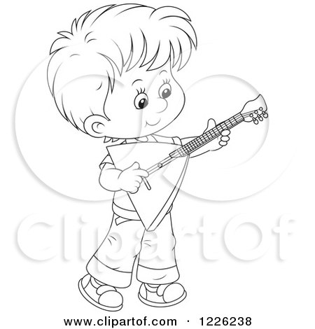 450x470 Clipart Of An Outlined Boy Playing A Balalaika Guitar