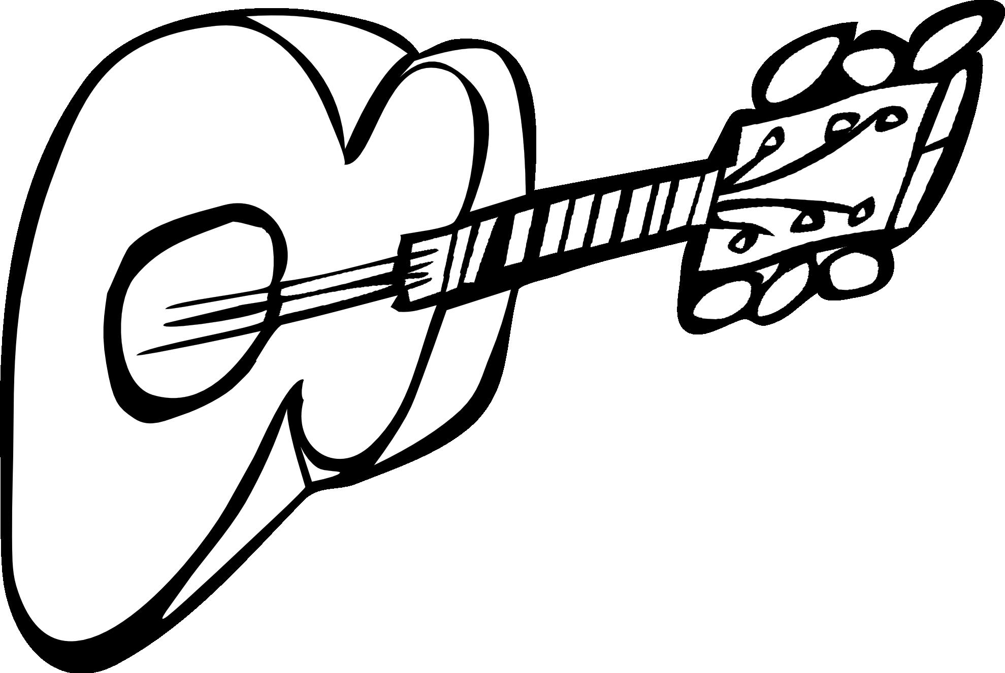 1979x1326 Drawn Guitar Black And White