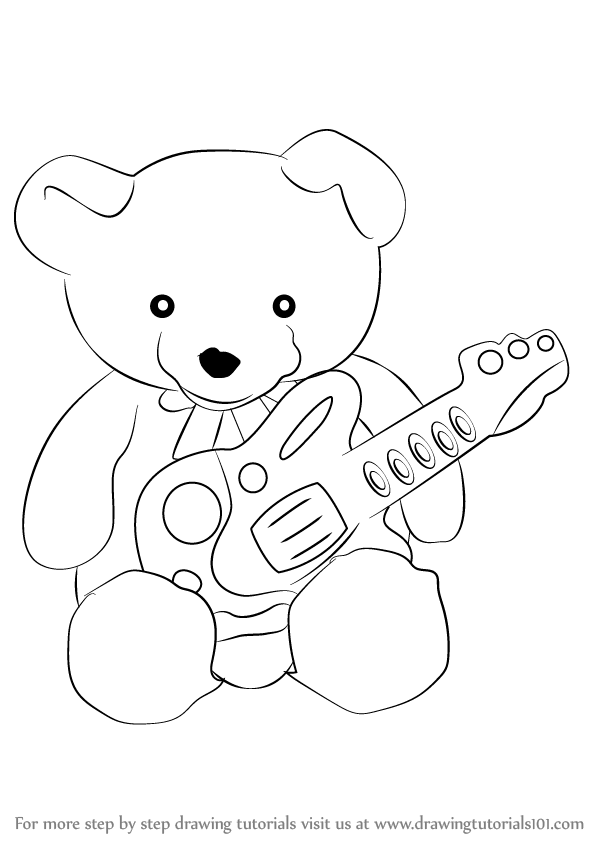598x844 Learn How To Draw Teddy Bear With Guitar (Soft Toys) Step By Step
