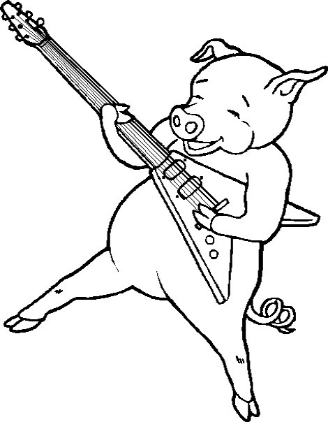 470x604 Pig Play The Guitar Coloring Pages