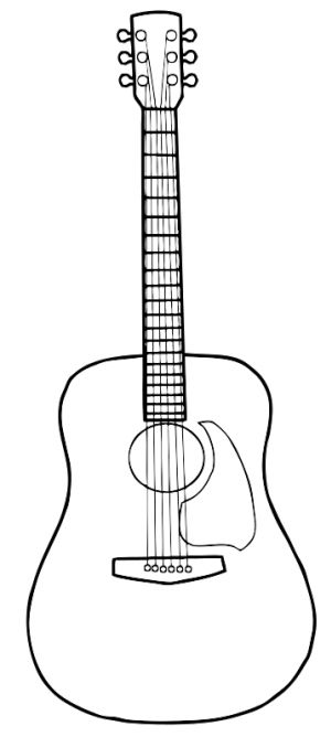 300x668 Acoustic Guitar Drawing