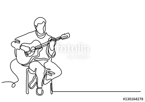 500x354 Continuous Line Drawing Of Sitting Guitarist Playing Guitar Stock