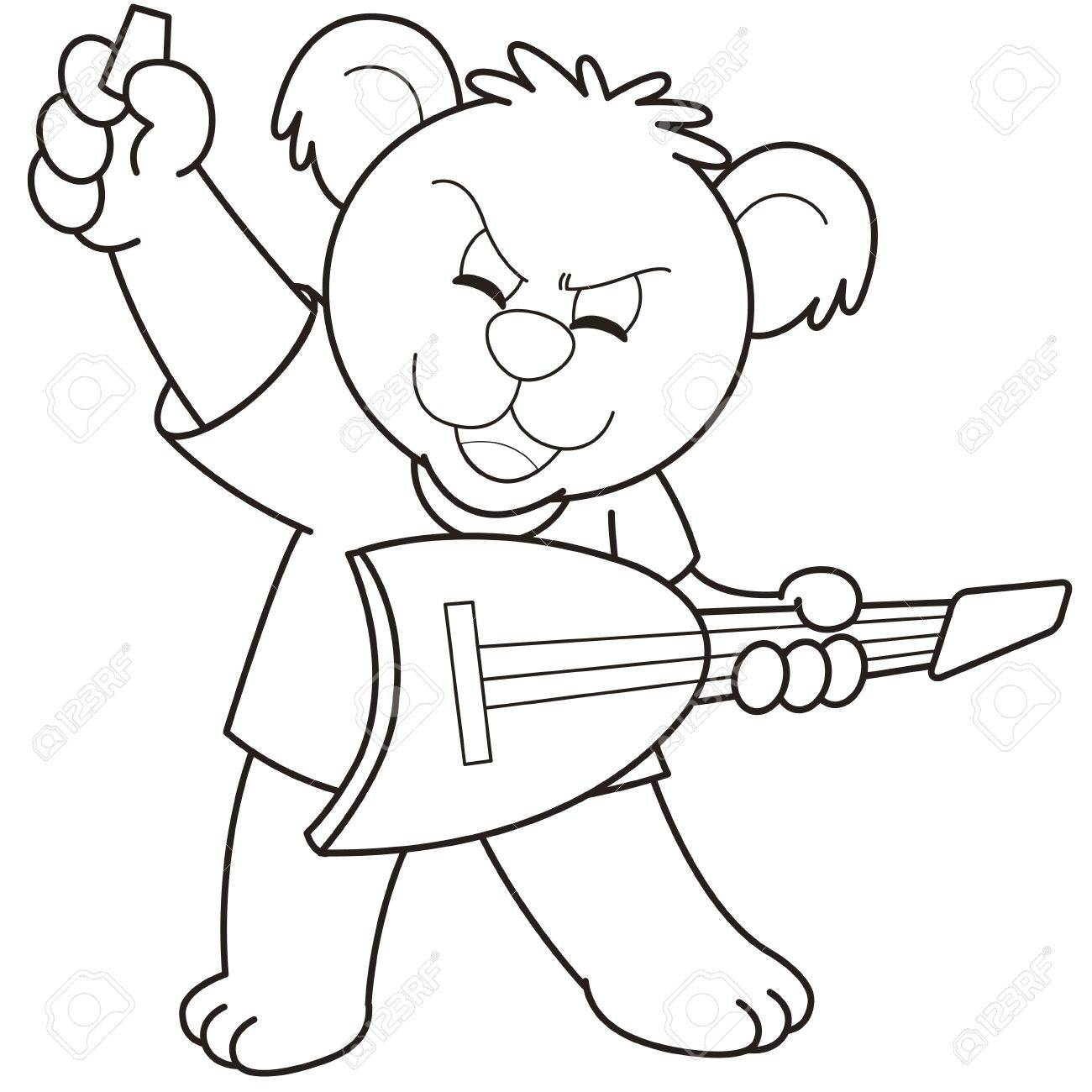 1300x1300 Cartoon Bear Playing A Guitar Black And White Royalty Free