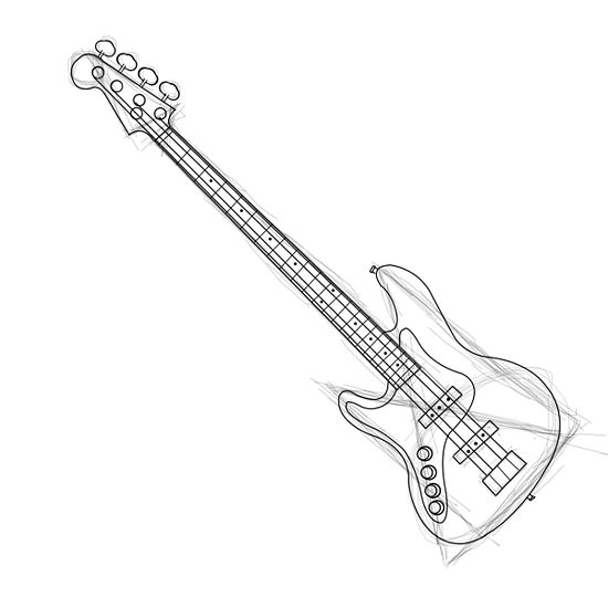550x550 Draw A Bass Guitar Bass, Guitars And Drawings
