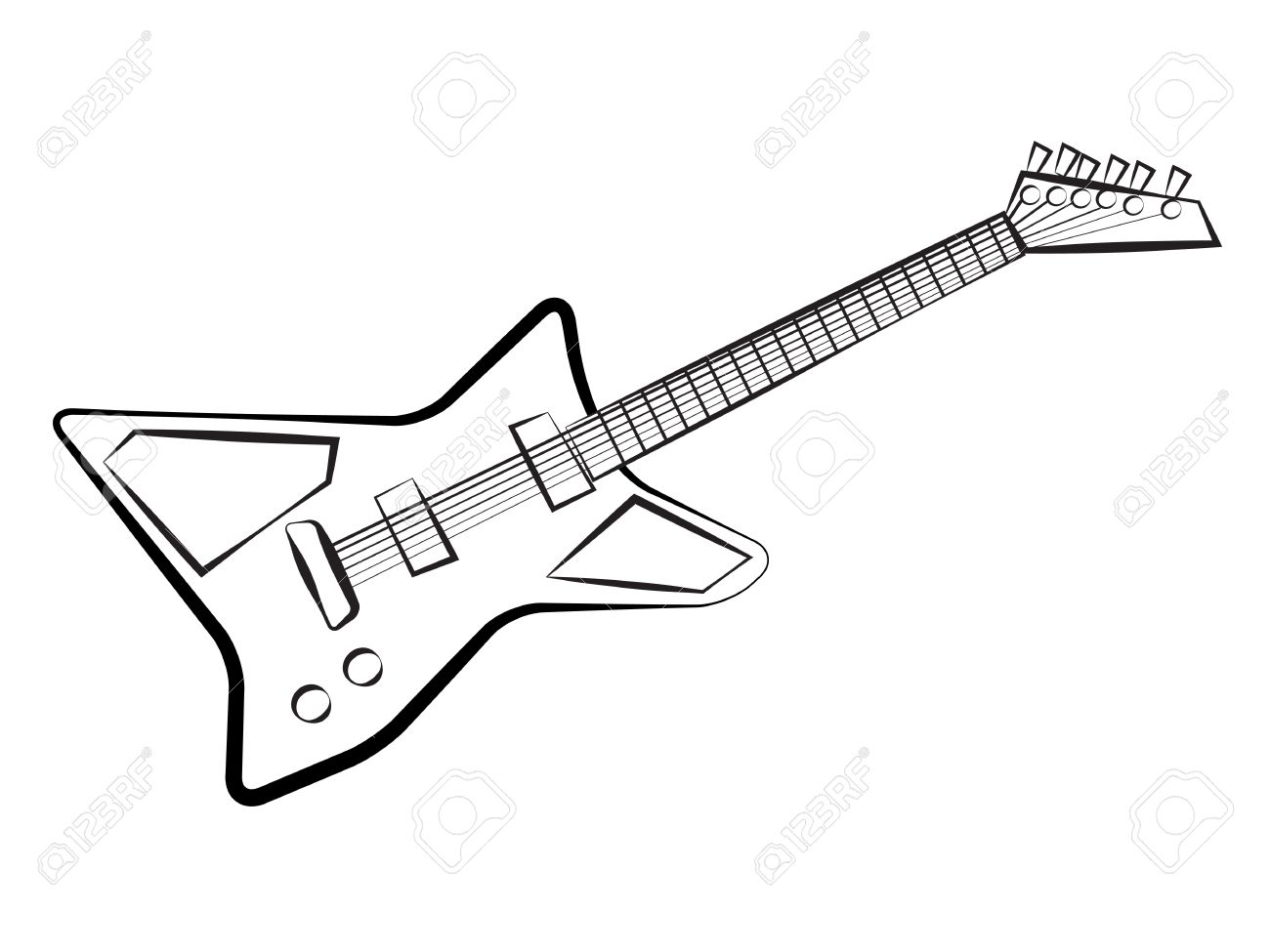 1300x975 Electric Guitar Sketch Royalty Free Cliparts, Vectors, And Stock