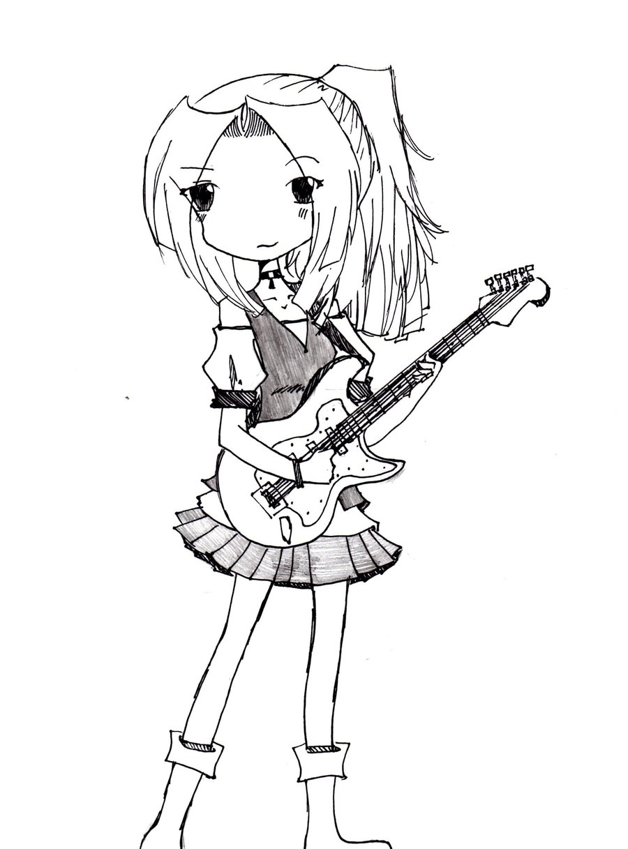 900x1217 Girl And Her Guitar By Kaerucchimoon