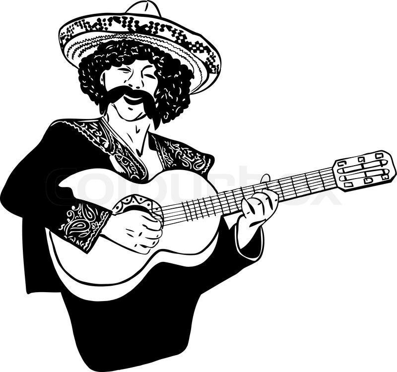 800x750 A Man In A Sombrero Playing Guitar Stock Vector Colourbox