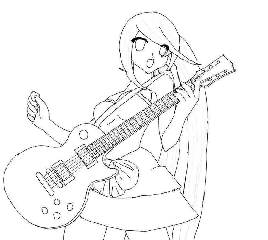 900x806 Girl With Guitar Sketch Wip By Ganoderma