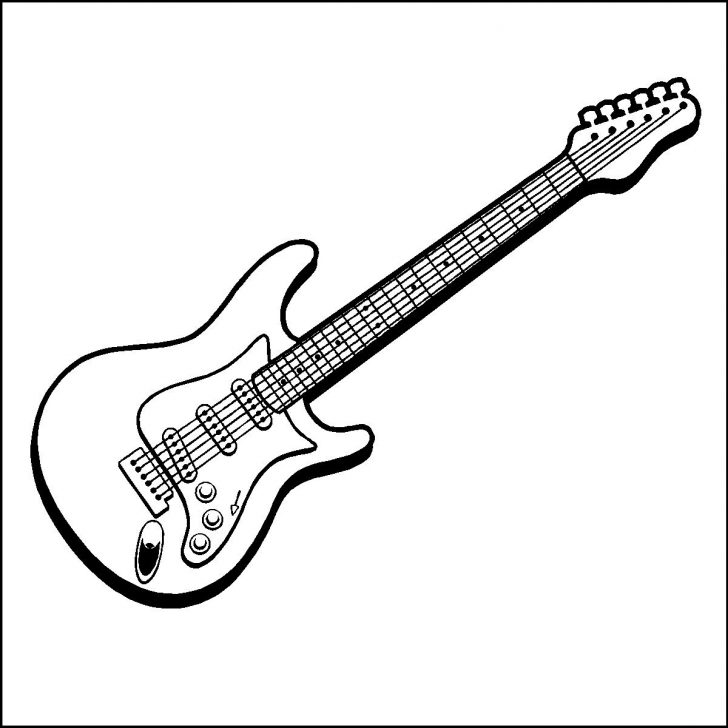 728x728 Guitar Coloring Page