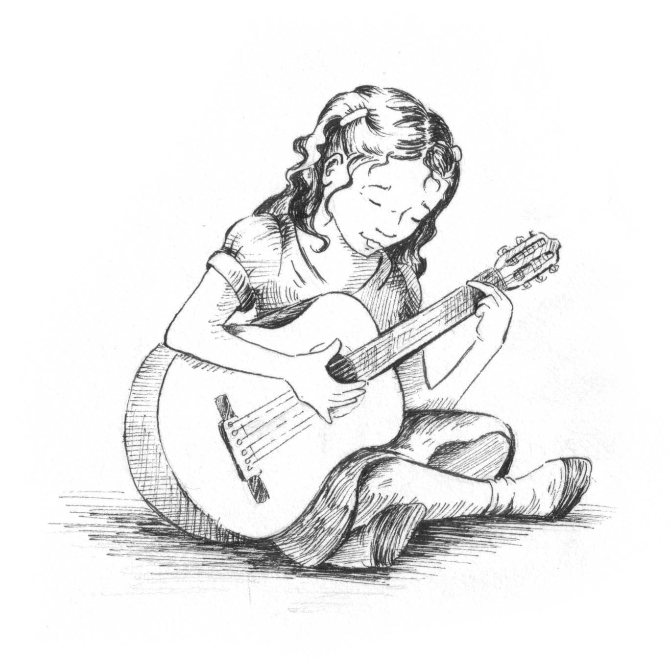 1368x1368 Sketch Images Of Girl Playing Guitar